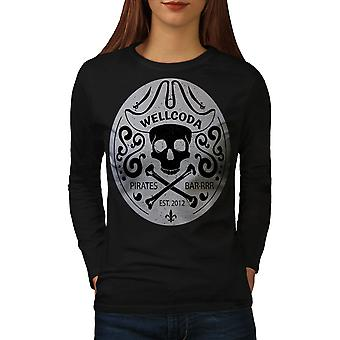 Wellcoda Pirate Women BlackLong Sleeve T-shirt   Wellcoda