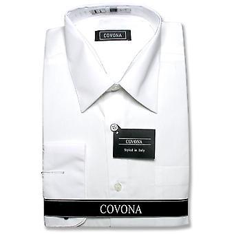 Covona Men's Solid Dress Shirt w/ Convertible Cuffs