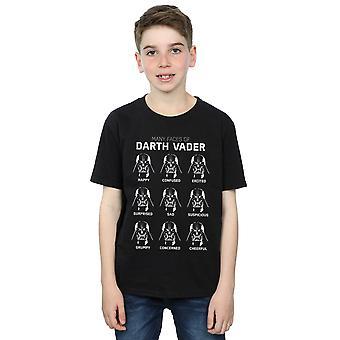 Star Wars ragazzi i molti volti di Darth Vader t-shirt