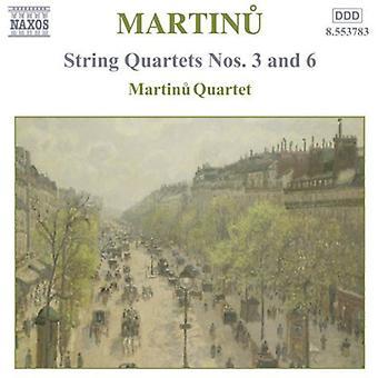 B. Martinu - Martinu: String Quartets Nos. 3 and 6 [CD] USA import