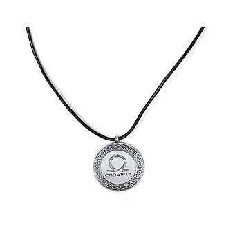 God of War Logo Metal Necklace With Leather Cord Silver (JE786604GDW)