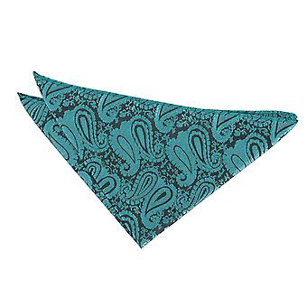 Teal Paisley  Pocket Square