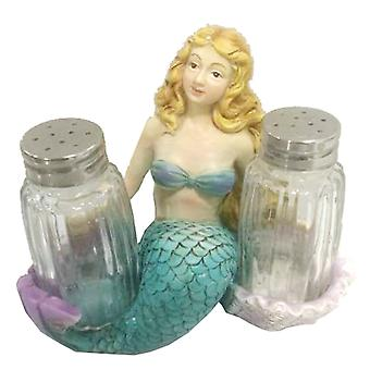 Golden Haired Mermaid Salt and Pepper Shakers Set
