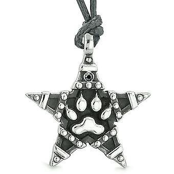 Ulv pote magi Super Star femtakkede beføjelser Amulet sort østrigske krystal vedhæng halskæde