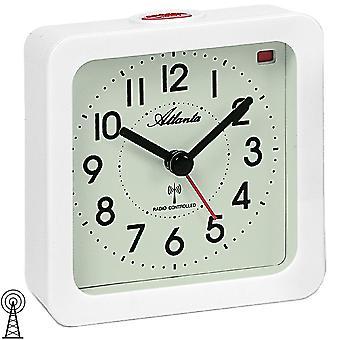 Vit kvadrat med ljus snooze väckarklocka klockradio