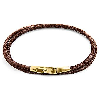 Anchor & Crew Mocha Brown Liverpool 9ct Yellow Gold And Stingray Leather Bracelet