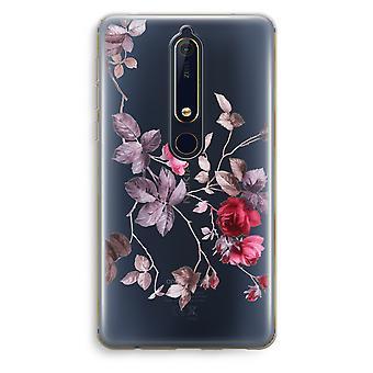 Nokia 6 (2018) gjennomsiktig sak (myk) - pene blomster