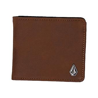 Volcom Slim Stone Faux Leather Wallet in Brown