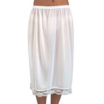 "Ladies Elasticated Waist Half Slip Petticoat With Pretty Lace Trim 25"" Long"