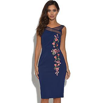 Liten älskarinna marinblå blommig broderad Bardot klänning