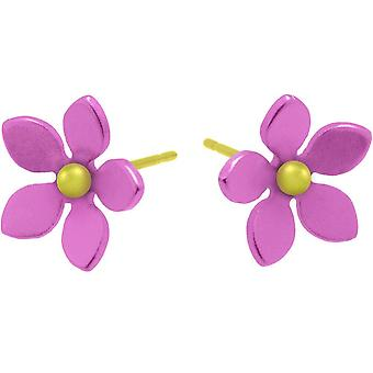 Ti2 Titanium 13mm Five Petal Stud Earrings - Candy Pink