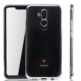 Mobil skal till Huawei Mate 20 Lite Silver - klart - TPU Silikon case tillbaka täcka skyddande omslag i transparent / glansig sida silver