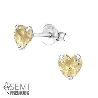 Hjerte - 925 Sterling sølv Opal og Semi ædle øret knopper - W22947x