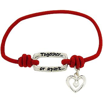 """Toc Bandz Together Or Apart You Are Always In My Heart 6"""" Red Stretch Bracelet"""