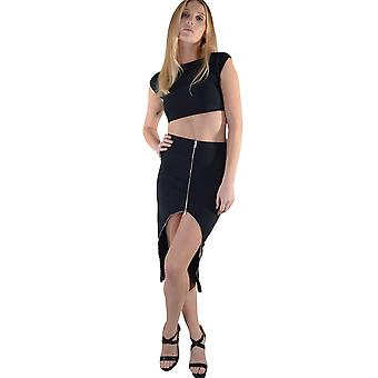 Lovemystyle Co-ord preto apresentando Crop Top e saia de Zip