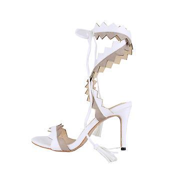 Lovemystyle Wraparound-Zick-Zack-Heel-Sandalen In weiß