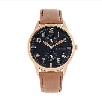 Elevon Turbine Leather-Band Watch - Rose Gold/Camel