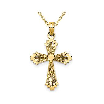 14K Yellow Gold Cross Pendant Necklace with Chain and Heart Center