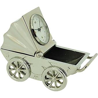 Miniature Silver Plate Baby Pram Picture Frame Novelty Collectors Clock IMP1020S