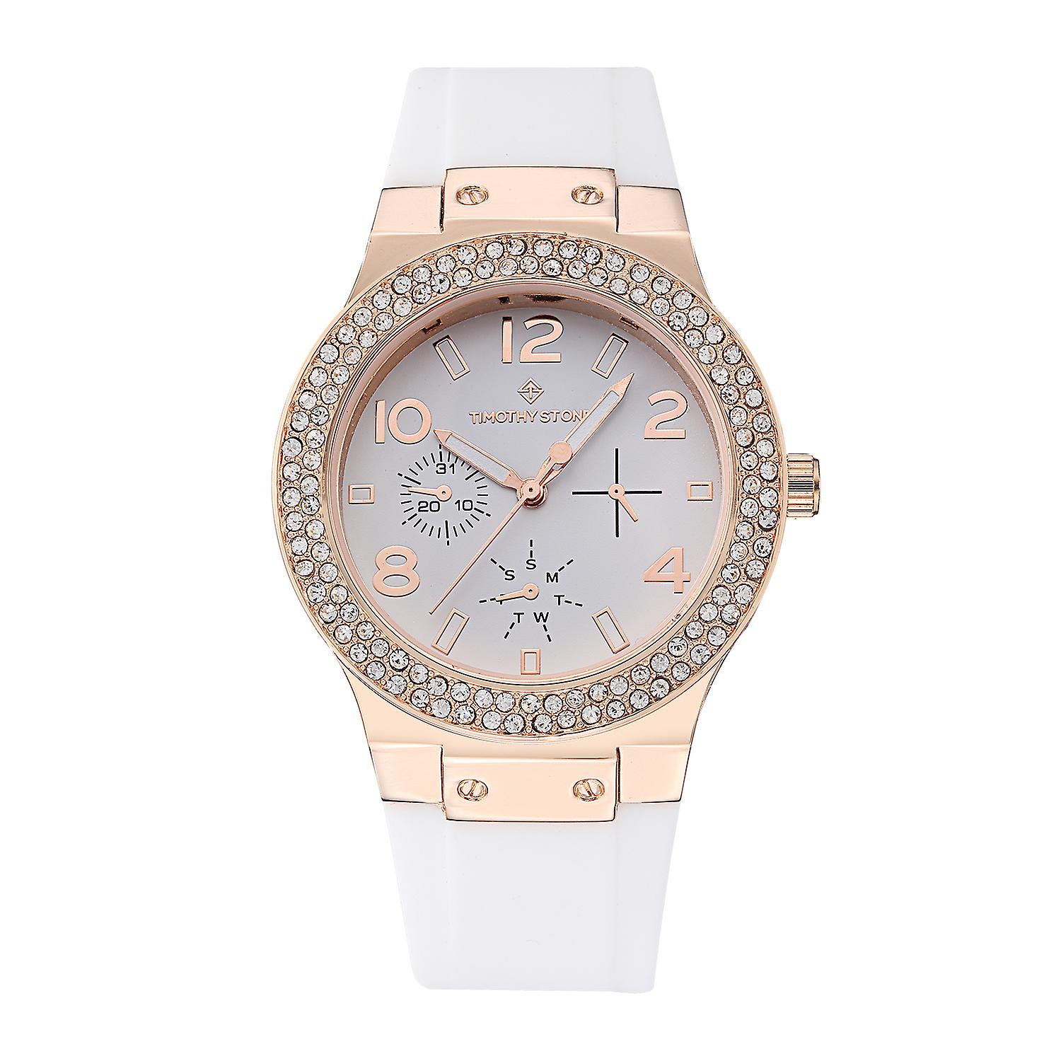 Timothy Stone Women's FA�ON-SILICONE Rose Gold-Tone and White Strap Watch