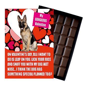 Regalo del pastor alemán para los regalos del día de San Valentín para los amantes del perro en caja de chocolate