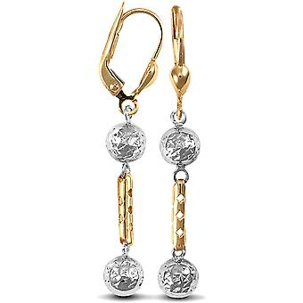 Boucles d'oreilles Jewelco London Ladies 9ct Yellow and White Gold Diamond Cut Perle