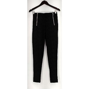 Slimming Options Leggings Ponte Knit Skinny Leg w/ Zipper Details Gray
