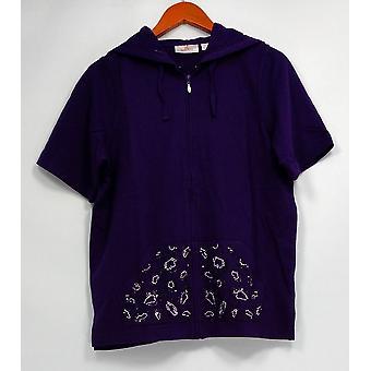 Quacker Factory Women's Sweater Short Sleeve Zip-Up w/ Hood Purple A225701