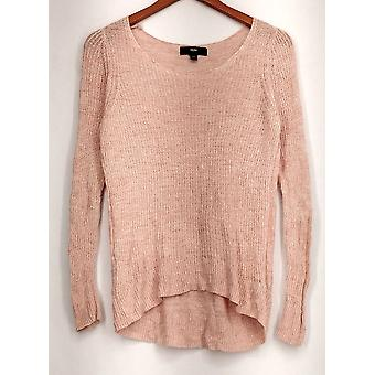 Mossimo Sweater Scoop Neck Long Sleeve Ribbed Detail Pink Womens