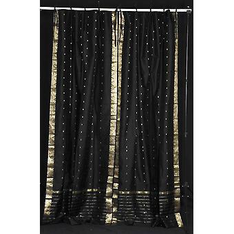 Black  Tie Top  Sheer Sari Curtain / Drape / Panel  - Piece