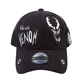 Venom Baseball Cap Crunge Varsity Patches Logo Official Marvel Black Snapback