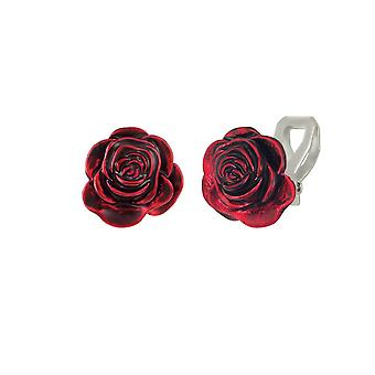 Eternal Collection Red Red Rose Enamel Silver Tone Flower Stud Clip On Earrings