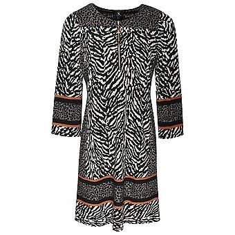 K-design Zebra Print Long Sleeve Zip Up Dress