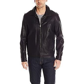 Dockers män ' s Faux läder Lay down krage Zip front jacka,, svart, storlek small