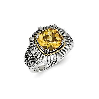 925 Sterling Silver Polished Prong set finish With 14k Citrine Ring Size 7 Jewelry Gifts for Women
