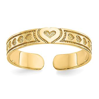 14k Yellow Gold Solid Textured Polished Love Heart Toe Ring Jewelry Gifts for Women - .8 Grams