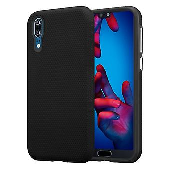 Cadorabo Case for Huawei P20 Case Cover - Outdoor Phone Case with Extra Grip Anti Slip Surface in Triangle Design made of silicone and plastic - Protective Case Hybrid Hardcase Back Case