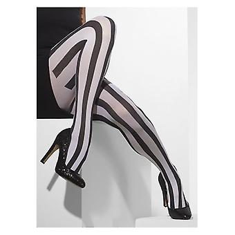 Womens Black & White Vertical Stripes Opaque Tights Fancy Dress Accessory