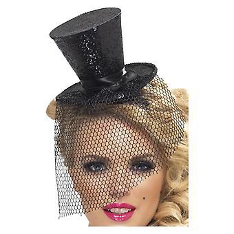 Womens svart Mini flosshatt på hodebånd Fancy kjole tilbehør