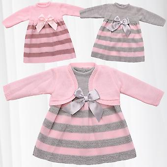Girls Clothing Set 2 Pieces Baby Dress Jacket Ribbon Knitted Combination Striped