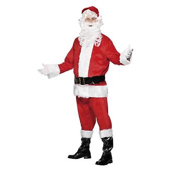Mens Deluxe Santa Natal fantasia vestido traje com barba