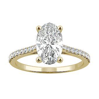 14K Gul Guld Moissanite af Charles & Colvard 10x6mm Aflange Oval Ring-størrelse 5, 2.49cttw DEW