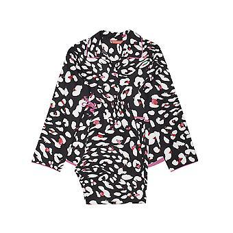 Minijammies 5522 Girl's Amber Black Animal Print Cotton Woven Pyjama Set