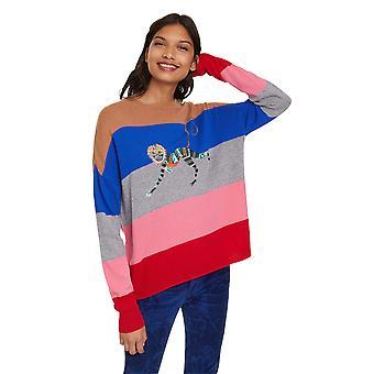 Desigual Women's Striped Sequin / Bead Monkey Sweater