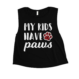My Kids Have Paws Womens Black Crop Tank Top Funny Dog Mom Gift