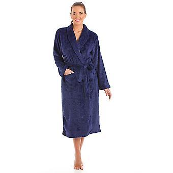 Senhoras La Marquise Embossed Coral Fleece Wrap Over Dressing Gown Nightwear Bathrobe