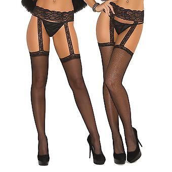 Womens Sexy Sheer Crotchless Fishnet Attached Garter Belt Pantyhose Stockings- 2 Pack
