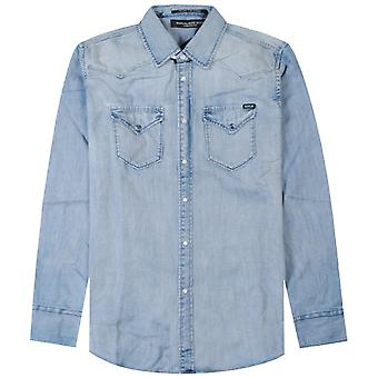 Replay Licht Denim geknöpft Shirt