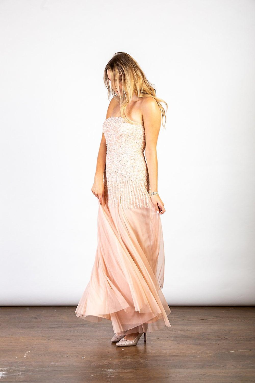 Luvforever Handmade Off Shoulder Sequin Embellished Maxi Dress