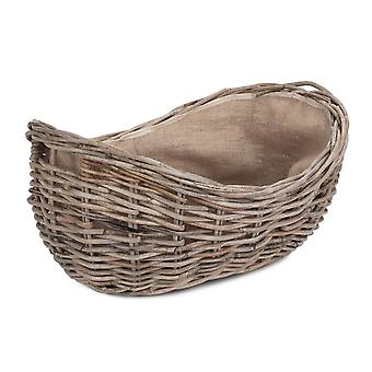 Small Boat Shaped Rattan Log Basket with Hessian Lining